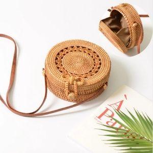 Handbags - Brown Woven Straw Rattan Beach Circle Bag